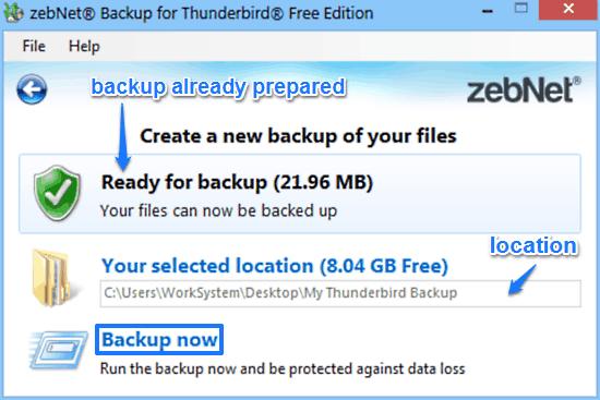 zebnet backup for thunderbird backup prompt