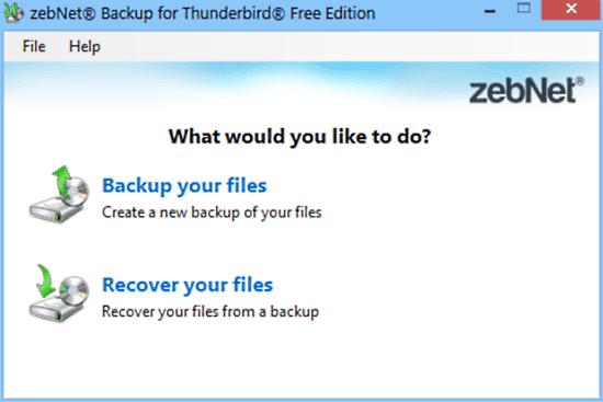 zebnet backup for thunderbird mainui