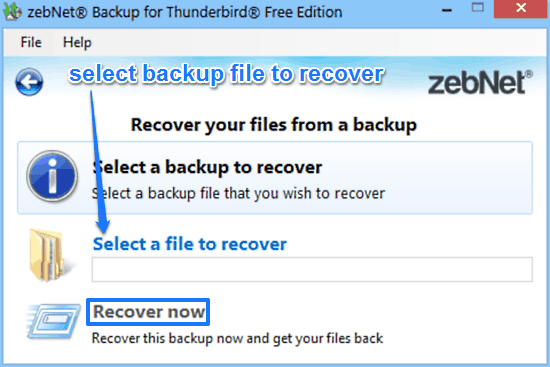 zebnet backup for thunderbird recovery prompt
