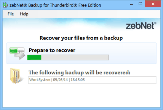 zebnet backup for thunderbird recovery