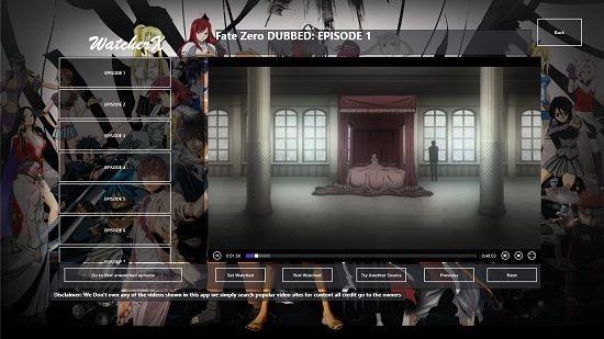 AnimeWatcherX Anime Series playback