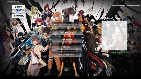 AnimeWatcherX main screen