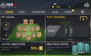 FIFA 15 Ultimate Team Home Screen