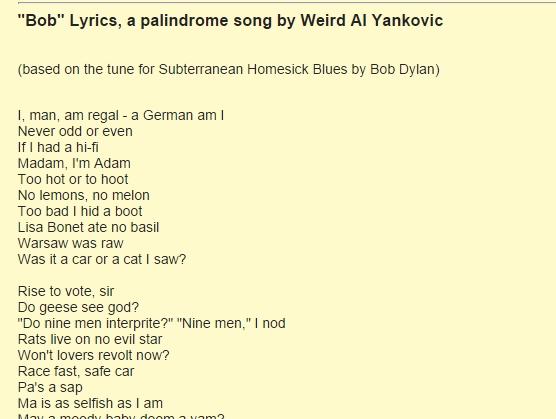 List Of Palindromic Sentences