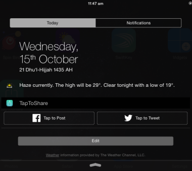 Post to Facebook, Twitter via Notification Center