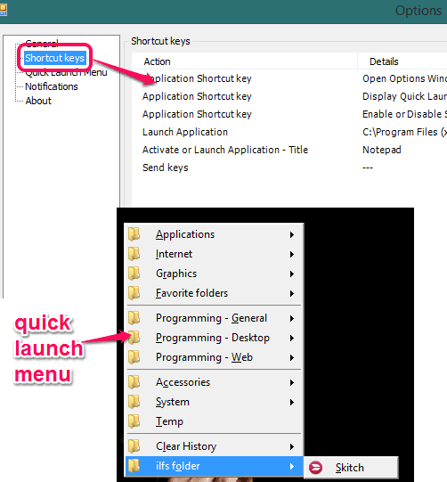 Programmer's Tool- launch applications with quick menu and hotkeys