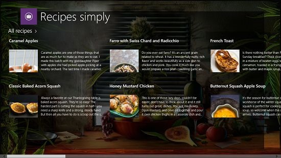 Recipes Simply Main Screen