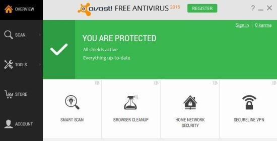 Avast 2015 Main UI