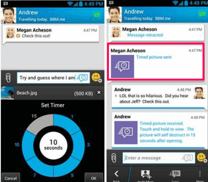 Sending Timed Messages in BBM