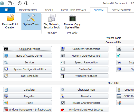 System tools tab
