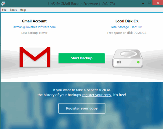 UpSafe Gmail Backup- interface