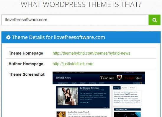 WhatWPThemeisThat Theme Detail