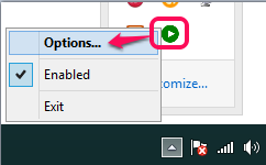 access Options using tray icon