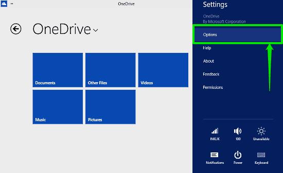 access onedrive options