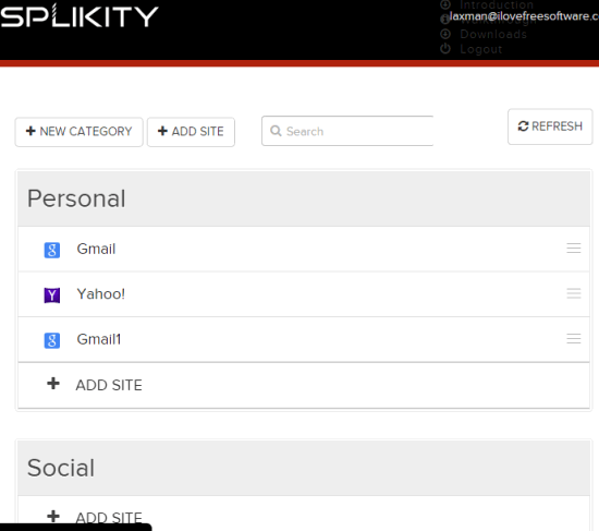 access your Splikity account dashboard to manage saved websites