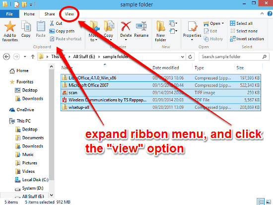 activate ribbon menu and go to view
