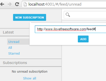 add rss feed URL for favorite website