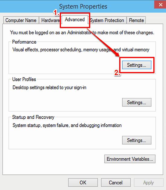 advanced system settings advanced tab