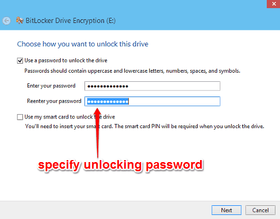 bitlocker encryption specify password