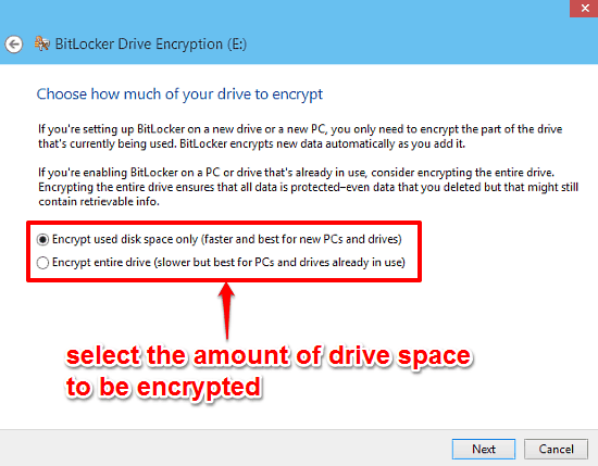 bitlocker encryption start encryption final step
