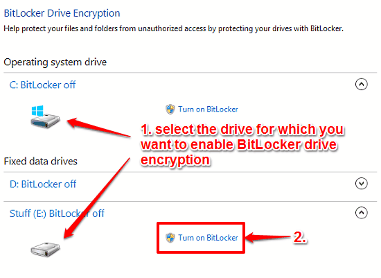bitlocker encryption step 1