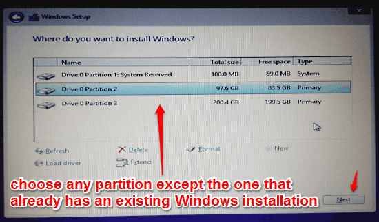 choose installation partition