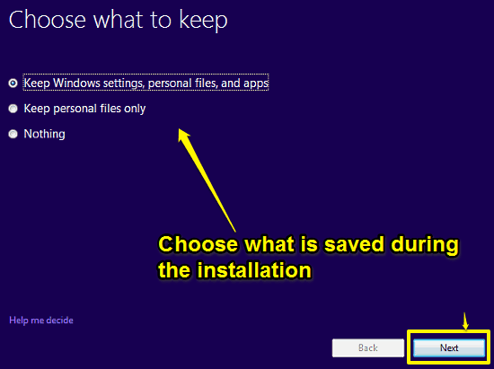 choose what to save windows 10 setup