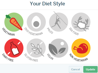 choose your diet style to receive recipe updates