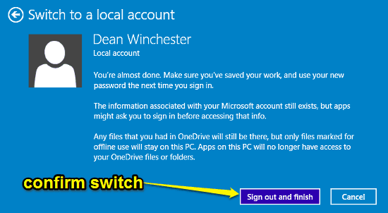 confirm switch to local account