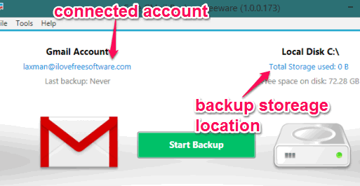 connected Gmail account and backup location