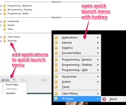 create folder and add applications to quick launch menu