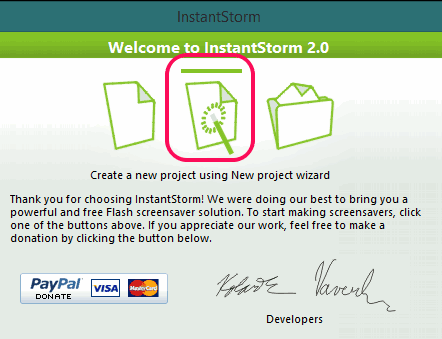create new project using project wizard