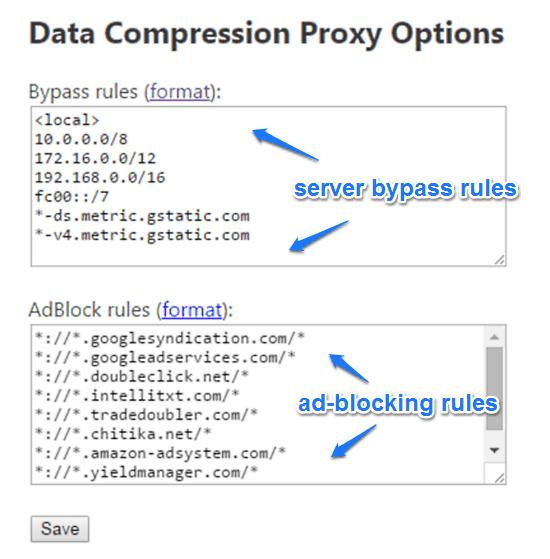 data compression proxy options