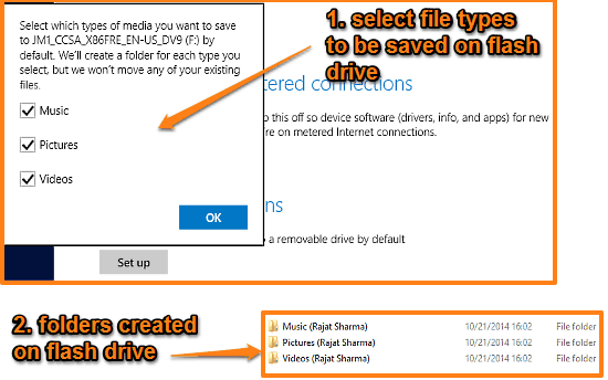 default save locations created on flash drive