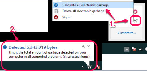 detect total amount of garbabe present in PC