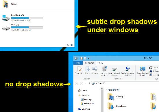 drop shadows vs. no drop shadows