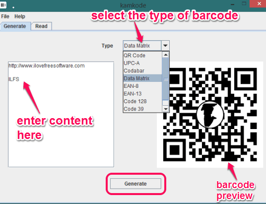 enter infromation and select barcode type to generate barcode