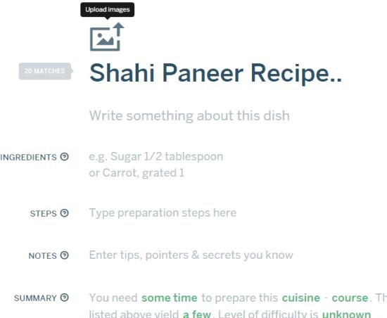 enter title and description of recipe