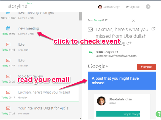 explore emails, events, and attachments