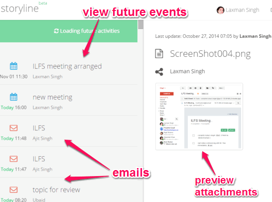 explore emails, preview attachments, and view future events from a single interface