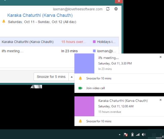 get desktop notifications for events for Google Calendar