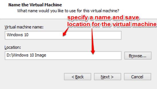 give virtual machine a name