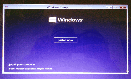 install now screen