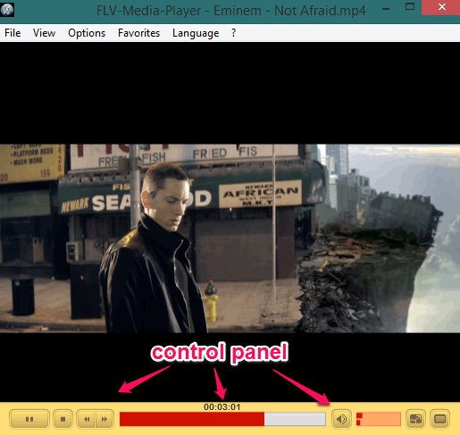 interface of this flv media player and control panel
