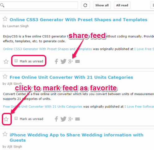 mark feed as favorite, unread, and share