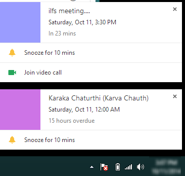 pop up notifications for events
