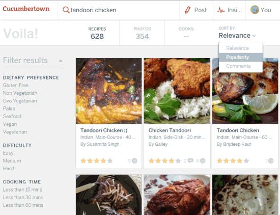 search recipes or cooks and filter results