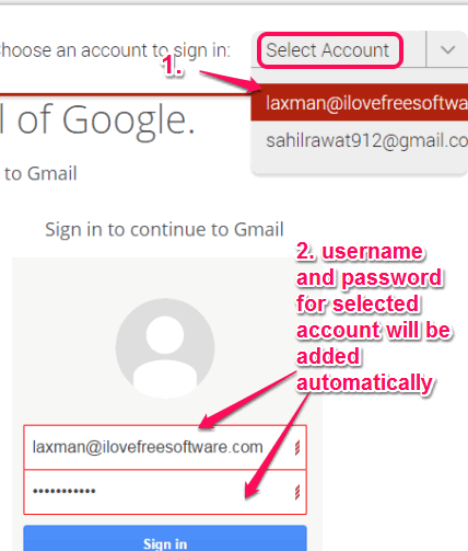 select account to login automatically