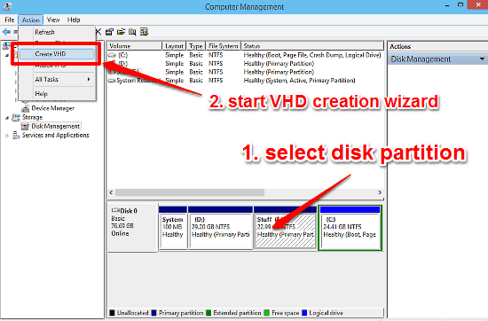 select disk and start vhd wizard