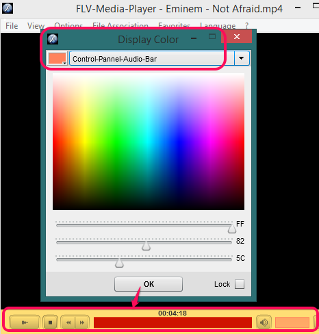 set display color for control panel
